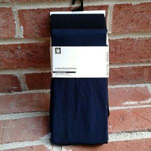 Anne Klein Navy Blue/Black 2PK Semi Opaque Tights